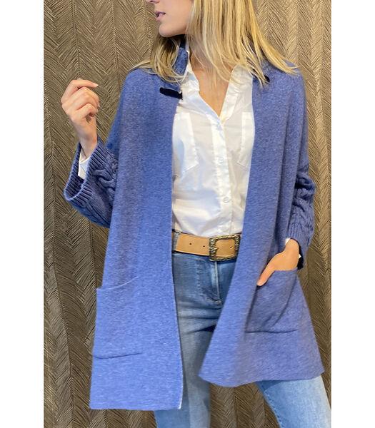 Gilet mi-long bleu clair avec poignets côtelés