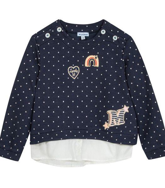 Polka dot sweatshirt met geborduurde badges