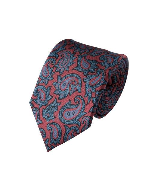 Cravate à motifs cachemires cyans en soie