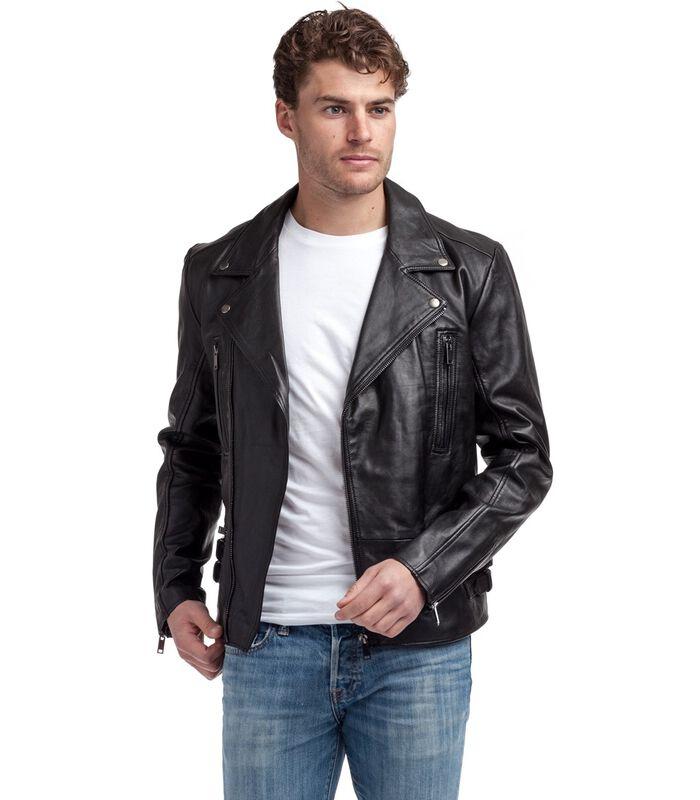 Anton jas in schapenleer biker stijl image number 0