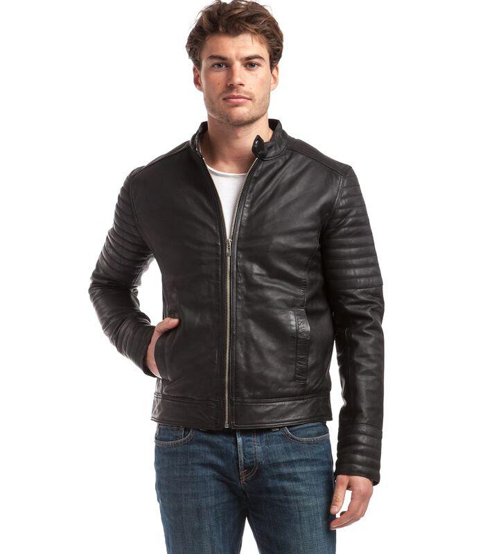 TRSTAN jas in schapenleer biker stijl image number 1