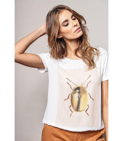 Witte t-shirt met ronde hals met kever dessin