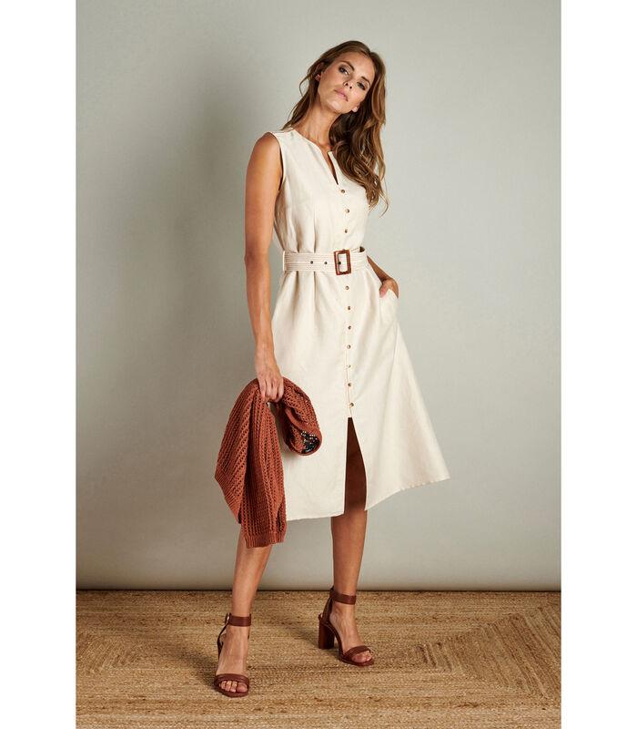Crèmekleurige halflange jurk zonder mouwen image number 0