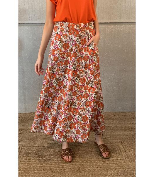 Elegante enkellange rok met felle bloemenprint