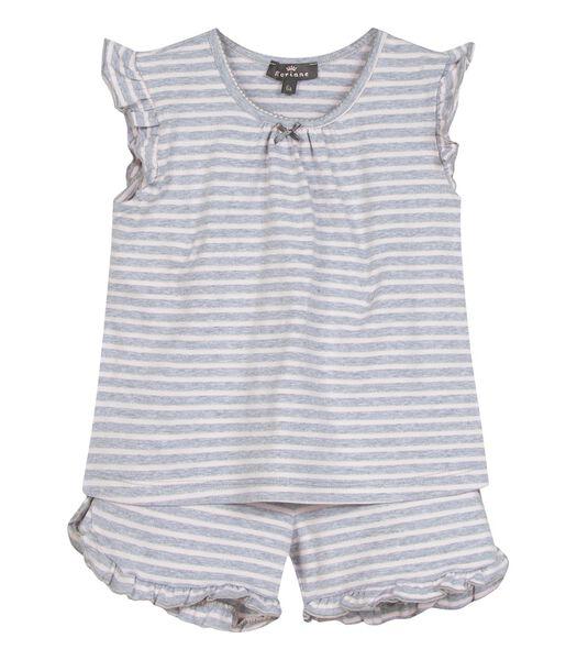 Mouwloze gestreepte pyjama en korte broek