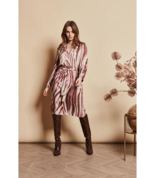 Halflange jurk in zachtroze tinten