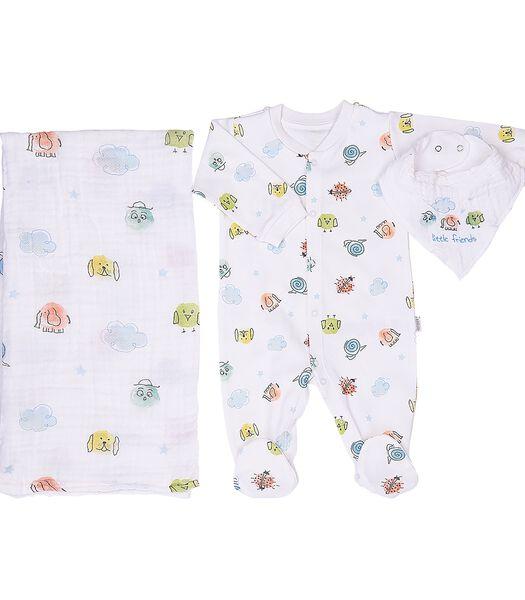 Pyjama, bandana et lange en coton bio, LITTLE FRIENDS