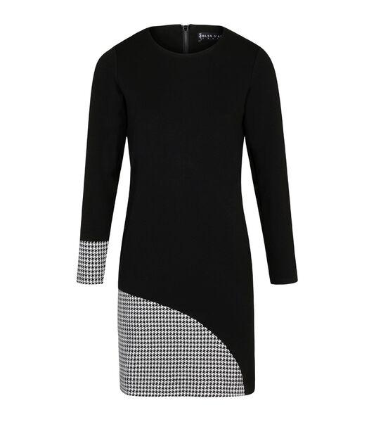 Asymmetrische bi-materiaal jurk WOOP