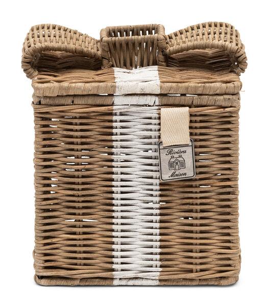 Boîte à mouchoirs en rotin rustique avec un joli nœud
