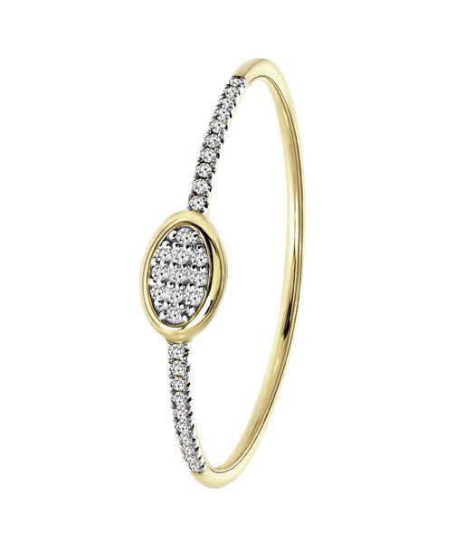 Bague en or jaune 14K avec 31 diamants 0,05ct ovale.