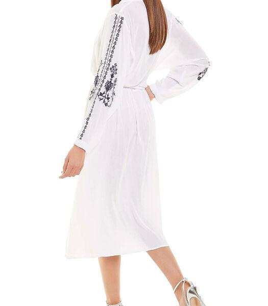 Zomerse halflange jurk met lange mouwen wit