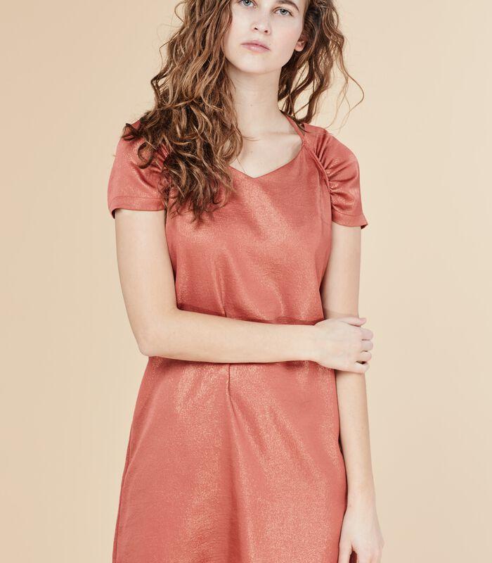 Korte iriserende jurk DEROMY bloedappelsien image number 4