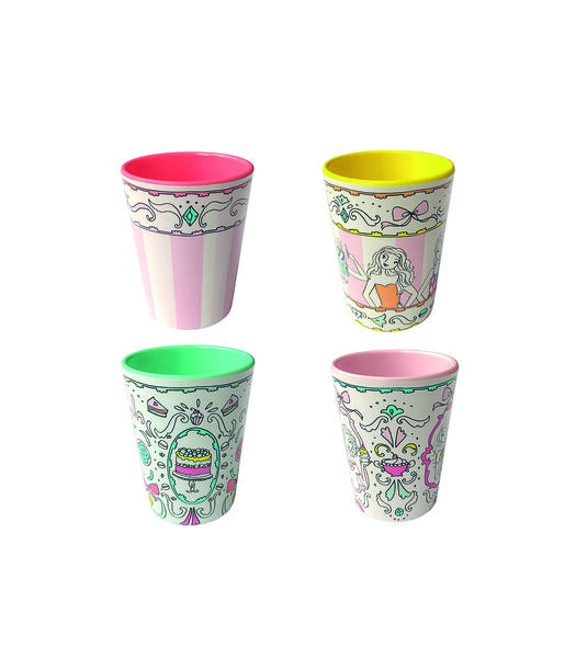 Melamine Set mix van 4 bekers 0,23L
