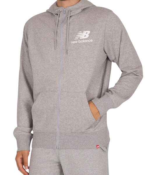 Essentials gestapelde hoodie met volledige rits