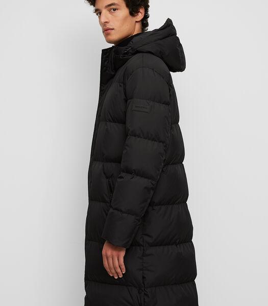 Lange, gewatteerde jas met een waterafstotend oppervlak