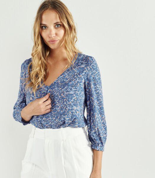 AMARO Bloemen Print Overhemd met Mid-Sleeve