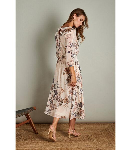 Romantische maxi jurk in rozige tinten
