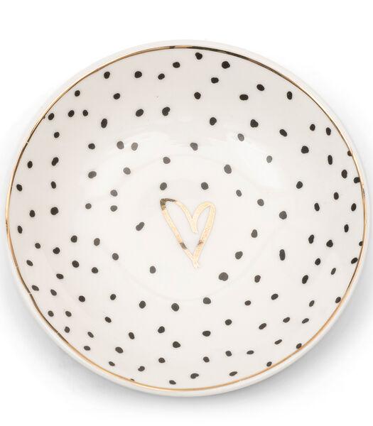 Dots & Stripes Heart Side Plate