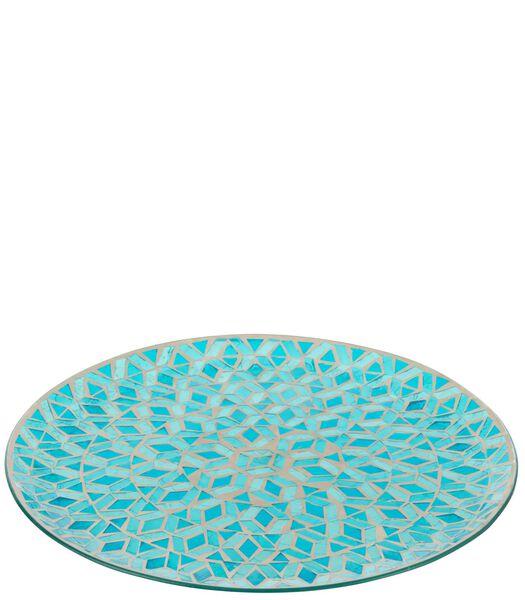 Plat Mosaiques Rond Verre Bleu
