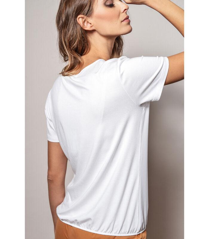 Witte t-shirt met ronde hals met kever dessin image number 1