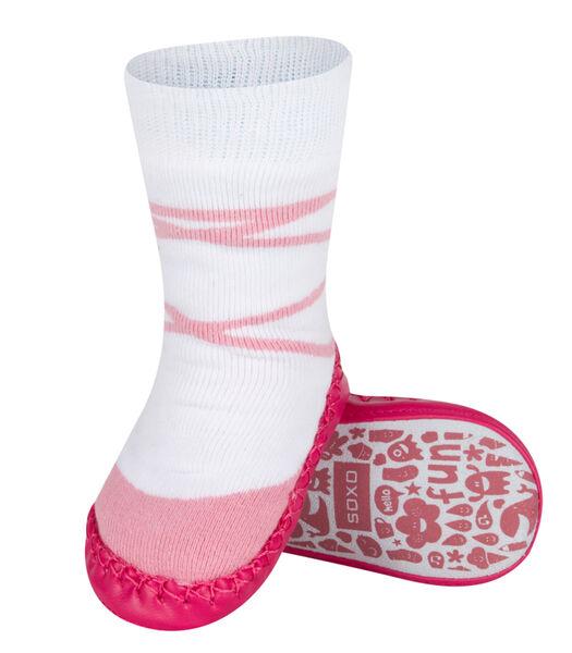 Chaussons chaussettes bébé avec semelle en cuir -