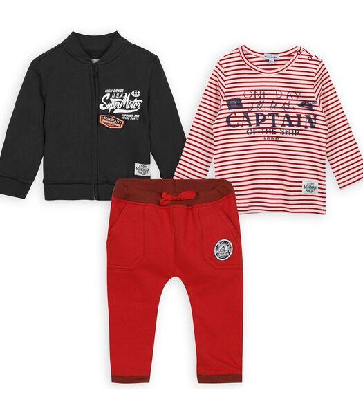 Set met 3 stuks: t-shirt, vest en broek