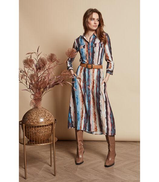Halflange jurk met gestreept multicolor patroon