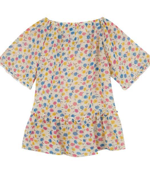 Veelkleurig bedrukte blouse met korte mouwen