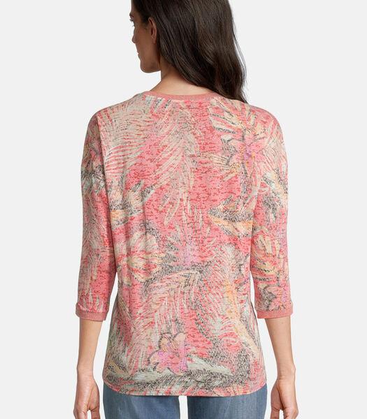 Shirt met print met ribboordjes