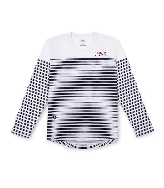 Gestreept T-shirt Brava, wit unisex