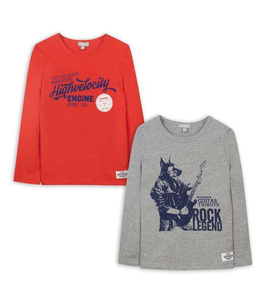 Set met 2 t-shirts met lange mouwen