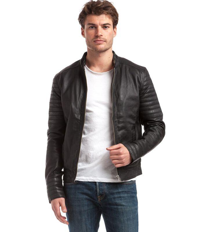 TRSTAN jas in schapenleer biker stijl image number 0