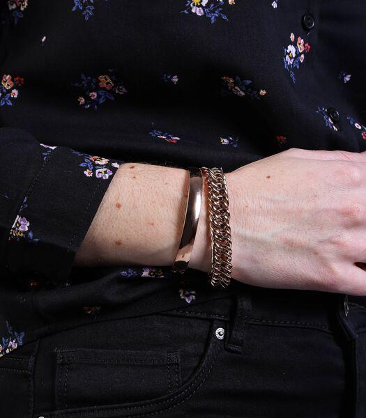 Ensemble en acier avec deux bracelets en plaqué rose