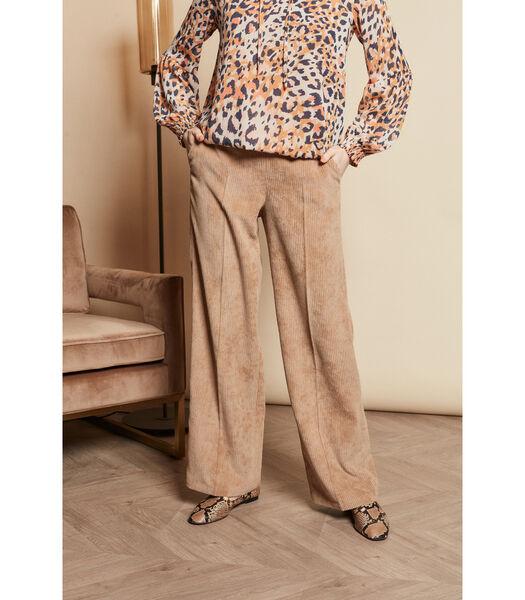 Pantalon beige aces des jambes de pantalon larges en vel