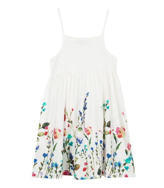 Bedrukte jurk met bloemen aan de onderkant