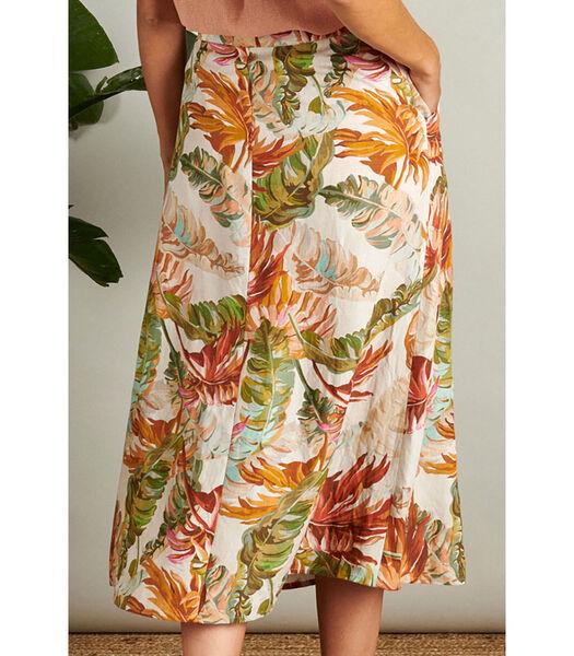 Luchtige rok met exotische bloemenprint