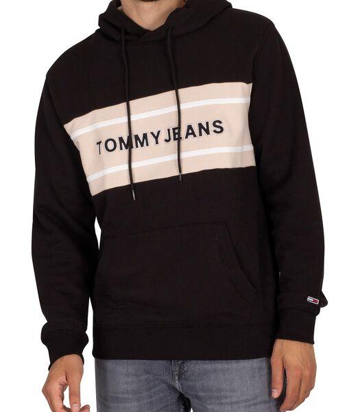 Pullover-hoodie met patchwork-bandlogo