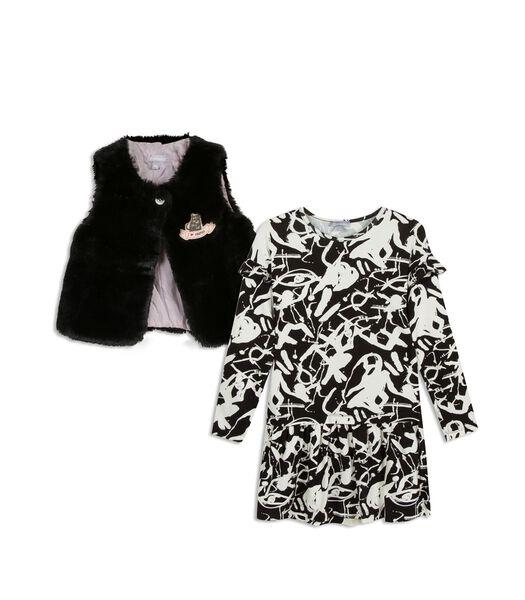 Geprint jurk met vestje zonder mouwen in vals bont