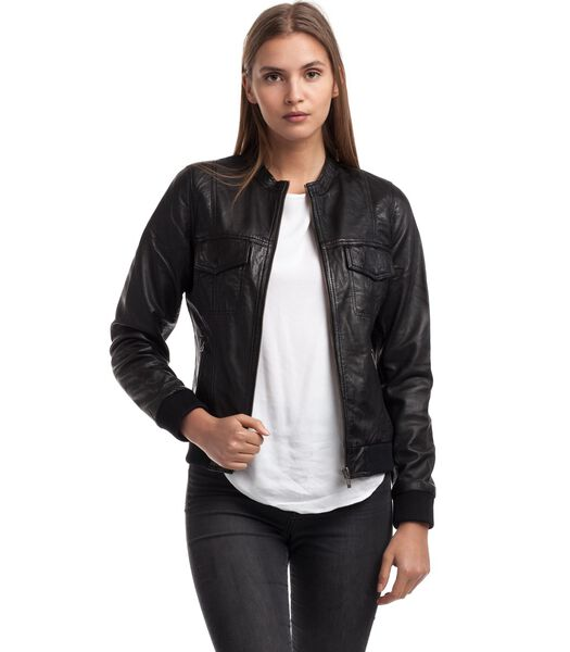 OLIV jas in schapenleer biker stijl
