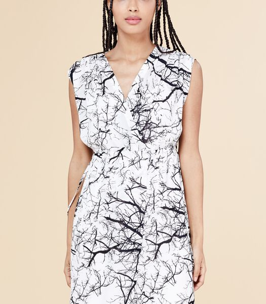 Zwart-witte jurk MAKEBA in voile met print