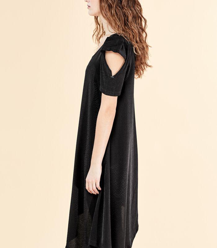Asymmetrische zwarte jurk VIRGWOOLF in jacquard image number 4