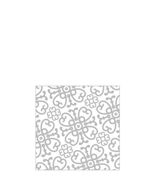 Pak 20 Servetten Symphonie Papier Wit/Zilver Small