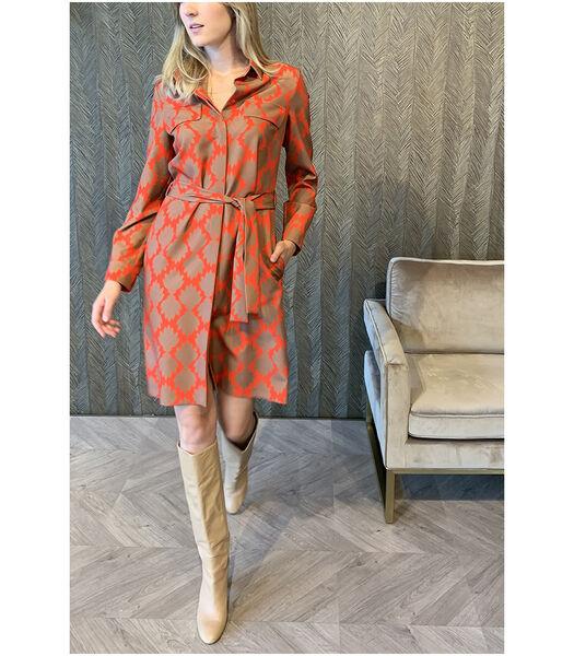 Vlotte hemdsjurk in vrolijk oranje dessin