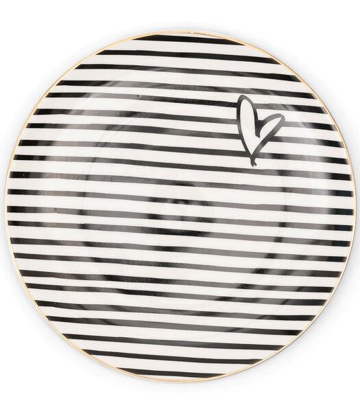 Dots & Stripes Heart Cake Plate