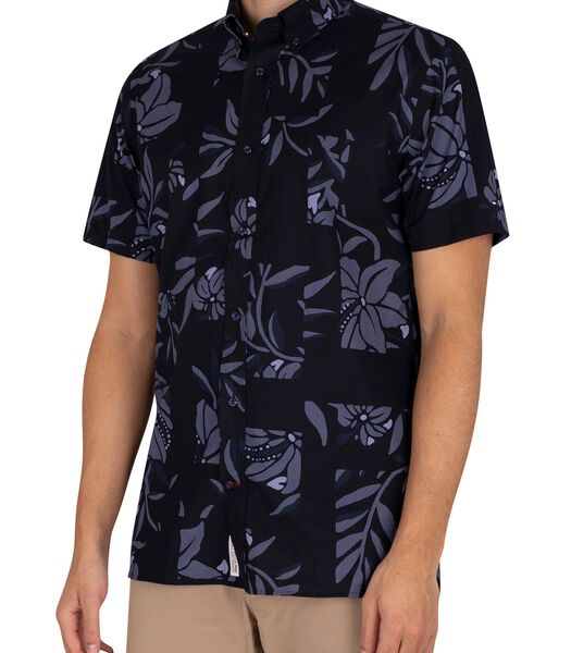 Patchwork overhemd met korte mouwen en bloemenprint