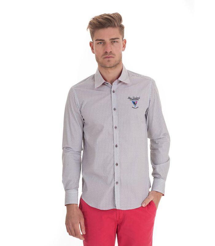 Overhemd in popeline met lange mouwen en motief image number 0