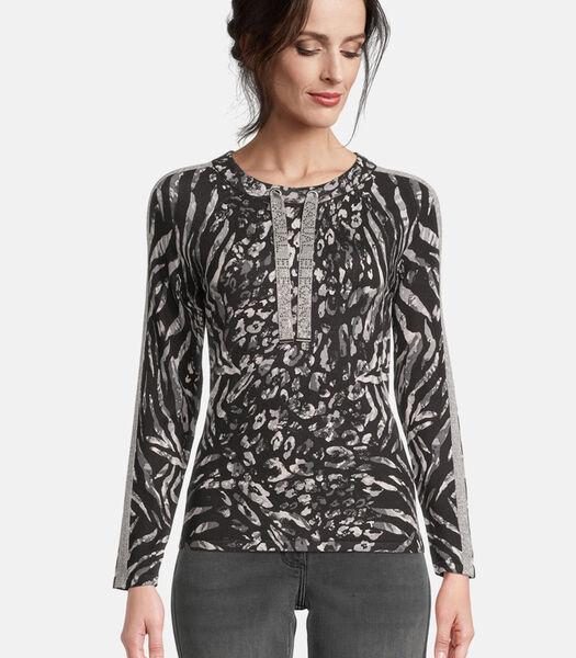 Fijngebreide trui met animal print