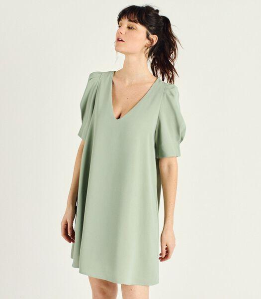 Korte jurk met korte mouwen V-hals CORINA