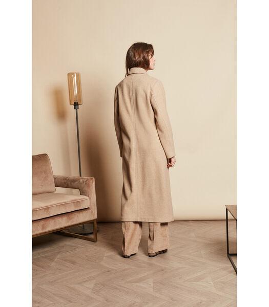 Trendy lange beige mantel