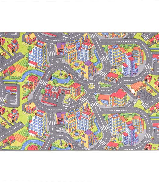 Tapis de rue pour enfants Little Town 3D - Gris